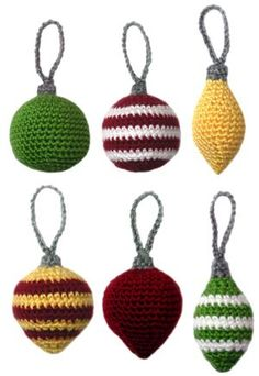 Crochet Pattern: Classic Christmas Ornament Set by Rachel Choi Crochet Christmas Decorations, Crochet Ornaments, Holiday Crochet, Christmas Ornament Sets, Christmas Knitting, Xmas Ornaments, Handmade Christmas, Christmas Crafts, Christmas Patterns