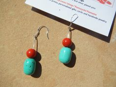 Red and Turquoise Bead Earrings via Etsy http://www.etsy.com/listing/127795204/red-and-turquoise-bead-earrings?ref=teams_post