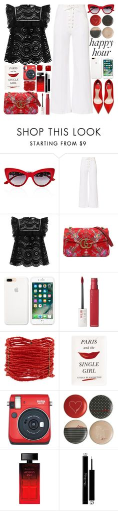 """Bottoms Up: Happy Hour"" by martinabb ❤ liked on Polyvore featuring Dolce&Gabbana, A.L.C., Zimmermann, Gucci, Maybelline, Berry, Kate Spade, Fuji, Royal Doulton and Elizabeth Arden"