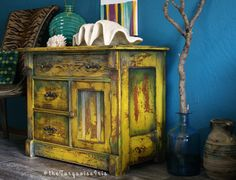 Rustic Mustard Yellow Accent Table with Teal / by The Turquoise Iris