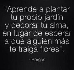 Aprende a plantar tu propio jardín y decorar tu alma, en lugar de esperar a que alguien mas te traiga flores.