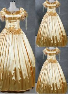 Graceful Golden Short Sleeve Satin Gothic Victorian Dress | Cheap gothic victorian lolita dresses Sale