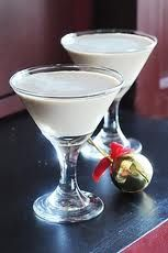 White Chocolate Snowflake Martini:  3 TBSP Godiva liqueur  2 TBSP caramel flavored vodka  2 TBSP hazelnut creamer    Combine all ingredients in a shaker with ice, and shake for 30-60 seconds to blend and chill. Strain into a martini glass and serve. (you may also optionally rim your glasses with fine white or colored sugar)