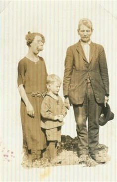 "Grace McDaniels (1888-1958) ""The Mule Faced Woman"", her son Elmer, & his father, a carnival worker who fathered the boy while intoxicated. Contrary to popular belief, the two were never married."