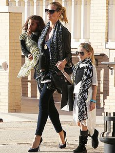 Heidi Klum and daughter Leni out and about in Theodora & Callum scarves.