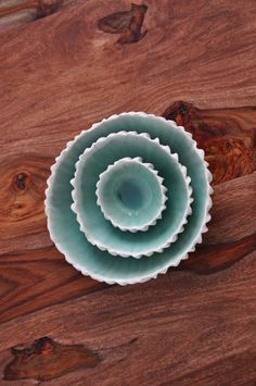 Copper Blue Ceramic Nesting Bowls  White by elementclaystudio