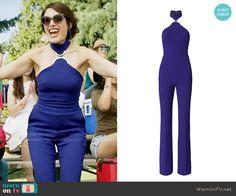 Abby's blue halterneck jumpsuit on Girlfriends Guide to Divorce.  Outfit Details: https://wornontv.net/64488/ #GG2D