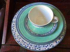 Mikasa Susanne 5 Piece Place Setting SL 104 Blue Leaves/Turquoise Trim China #Mikasa