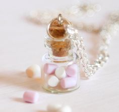 Marshmallow bottle necklace polymer clay kawaii jar by Zoozim, $13.00