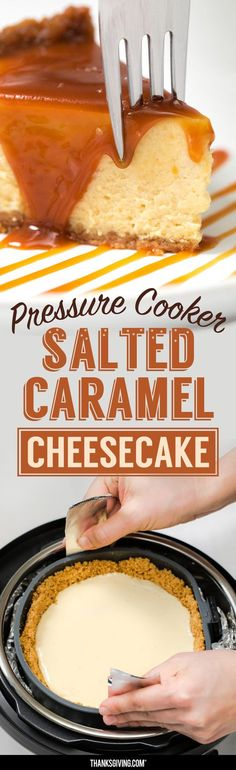 Velvety, rich and delicious, few desserts rule the table like cheesecake. This salted caramel cheesecake made in the Instant Pot takes the top prize. Salted Caramel Cheesecake, Cheesecake Recipes, Dessert Recipes, Instant Pot Cheesecake Recipe, Cheesecake Cupcakes, Salted Caramels, Instant Pot Pressure Cooker, Pressure Cooker Recipes, Pressure Cooking
