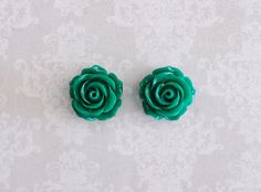 Green Rose Flower Girly Plugs  4g 2g 0g 00g by ryarr on Etsy, $12.99