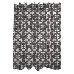 One Bella Casa Hisa 2 Geometric Woven Polyester Shower Curtain | AllModern