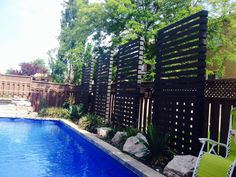 Modern privacy screens made of cedar 9' tall and 4.5' wide