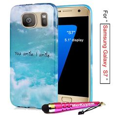 Fit [Galaxy S7], Galaxy S7 Case, MerKuyom Package- [Slim-fit] [ Flexible Gel ] Soft TPU Case Skin Rubber Cover For Samsung Galaxy S7 5.1' Display, W/ Touch Stylus (You Smile I Smile Blue Sky) -- This is an Amazon Affiliate link. You can find out more details at the link of the image.