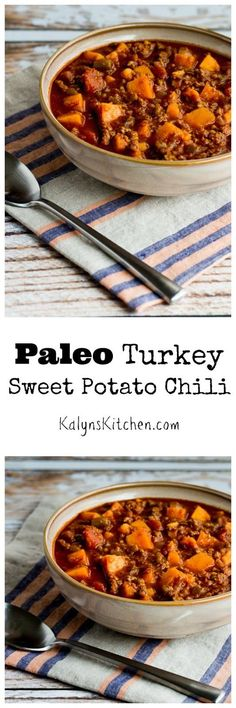 Paleo Turkey Sweet Potato Chili is also gluten-free and dairy-free. If you like savory sweet potato recipes like I do, you'll love this chili.  [found on http://KalynsKitchen.com]