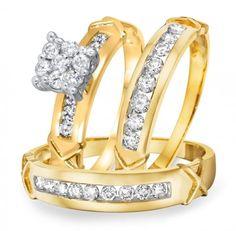 1 Carat Round Sim.Diamond 14K Yellow Gold Gp.925 Silver Trio Wedding Ring Sets #br925