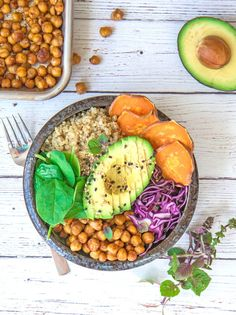 Vegan Buddha Bowl with Maple Roasted Chickpeas // Just do yourself a favor and top off all your food with avocado. It's always a good idea. | The Green Loot #vegan #cleaneating #weightloss
