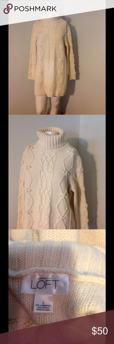 Ann Taylor Wool Aran Fisherman Long Sweater Dress Very nice  Ann Taylor Loft long sweater or dress. Aran fisherman cable knit turtleneck. Lambswool/Acrylic blend in size Large. Nice condition Ann Taylor Dresses