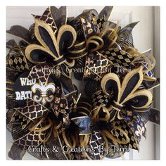 New Orleans Saints football wreath. Follow Created By Terri/Crafts & Creations By Terri facebook.com/CraftsandCreationsByTerri  www.etsy.com/shop/CreatedByTerri instagram.com/createdbyterri Twitter @ designsbyterri