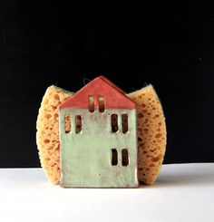 Sponge Holder-Napkin Holder-Ceramic House-Ceramics And by Vsocks. Very cute. Maybe request a custom order of a yellow birdhouse?