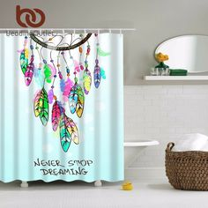 Buy Native American Dreamcatcher Feathers Design Digital Technology Graphic Print Shower Curtain Set Non Vinyl Bath Tub Liner Waterproof Fabric Mildew Resistant Material Hooks Included Modern Theme at Wish - Shopping Made Fun Nautical Shower Curtains, Vinyl Shower Curtains, Shower Curtain Sets, Bathroom Curtains, Watercolor Shower Curtain, Design Digital, Curtain Accessories, Feather Design, Bathroom Sets