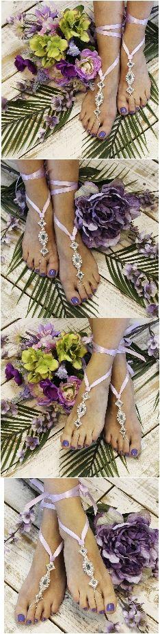 ENCHANTED wedding barefoot sandals - lavender
