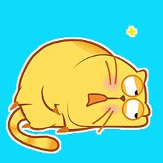 Cute Cartoon Drawings, Cartoon Gifs, Cute Love Gif, Cute Cat Gif, Love Stickers, Funny Stickers, Cute Fat Cats, Happy Kitty, Cat Emoji