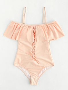 Shop Lace Up Design Cutout Back Flounce Swimsuit online. SheIn offers Lace Up Design Cutout Back Flounce Swimsuit & more to fit your fashionable needs. Summer Bathing Suits, Girls Bathing Suits, Cute Swimsuits, Cute Bikinis, Monokini, Beach Attire, Bikini Swimwear, Flounce Bikini, Retro Swimwear