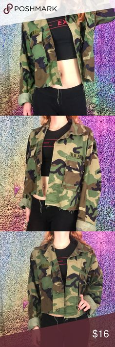 """Cropped Camo Army Jacket Camouflage Distressed Cropped Camo Army Jacket 😋  Authentic classic style camouflage US army jacket cropped by yours truly 💁 It has a raw hem but I did sew a sort of faux hem about 3/4 of an inch up so that it doesn't end up fraying too far. This could easily be a staple piece in your wardrobe!! Modeled on size small, will fit sizes XS-XL depending on desired fit.   Measurements: Shoulder to shoulder 19 inches Pit to pit 23"""" Length 21"""" Sleeve from bottom of…"""