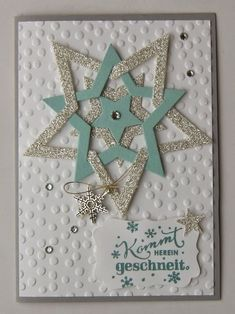 """Sternenglanz zu Weihnachten The topic of the current Maniac Monday Challenge # 146 is """"Star Shine"""", it is clear that the Framelits Stars Collection has to go! Christmas Cards To Make, Holiday Cards, Christmas Crafts, Christmas Christmas, Winter Karten, Hanukkah Cards, Star Cards, Theme Noel, Winter Cards"""