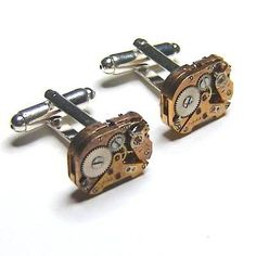 Watch movement cufflinks, quirky gift for geek, office, wedding birthday or anniversary. Steampunk style mechanism cufflinks