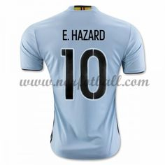 40549255 Belgia 2016 Landslagsdrakt E. Hazard 10 Kortermet Borte Fotballdrakter