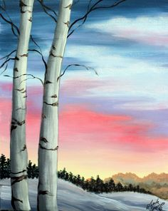 Birchtrees and sunset sky painting, Palmer Vineyard's Paint and Sip Winter Painting, Winter Art, Winter Sunset, Sunset Sky, Acrylic Canvas, Canvas Art, Painting Canvas, Painting Prints, Wine And Canvas