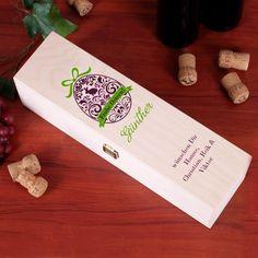 Bedruckte Holzbox als Wein-Verpackung zu Ostern