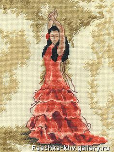 """Cross stitch kit """"dancer flamenco in red"""" Embroidery Needles, Cross Stitch Embroidery, Embroidery Patterns, Cross Stitch Patterns, Flamenco Dancers, Fused Glass Art, Tapestry Crochet, New Hobbies, Animal Pictures"""