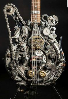 instrumental music, Steampunk Inspired Guitars and other Wind Instruments! Style Steampunk, Steampunk Design, Steampunk Fashion, Guitar Art, Music Guitar, Cool Guitar, Cyberpunk, Steampunk Gadgets, We Will Rock You