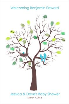 Personalisierte Custom Baby Dusche Baum Stammbaum Daumen drucken Poster Fingerabdruck Baum jungen Mädchen Kinderzimmer Kunst Drucken Gast Buch Alternative