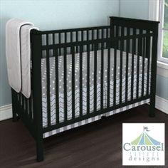 My Carousel Designs Custom Baby Bedding... with crib side {gray and white polka dot, slate silk, mist & gray chevron, white & gray stripe}