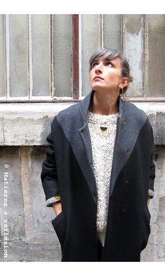 Matieres a reflexion manteau Georges g/n #matieresareflexion #manteau #coat #georges #grey #black #gris #noir #wool #laine #madeinfrance #fabriqueenfrance