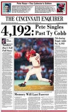 "Pete Rose ""the Hit King"" passes Ty Cobb with his hit Sports Baseball, Baseball Players, Baseball Cards, Baseball Wall, Basketball, Pete Rose, Cincinnati Reds Baseball, Pittsburgh Steelers, Dallas Cowboys"