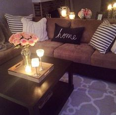 Zola Decor: Cozy Living Room Ideas for Your Home Decoration Cozy Living Rooms, Home Living Room, Apartment Living Rooms, Girls Apartment, Living Room Ideas For Apartments, Living Room Decor Tan Couch, Brown Living Room Furniture, Living Room Decor College, Dark Brown Sofa Living Room