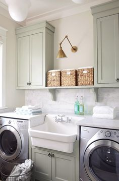 Utility Sink The 4 Elements of a Perfect Laundry Room 20 Smart Laundry Room Design Ideas and Tips for Functional Decorating Creative Laundry Room Storage + Laundry Room Remodel, Laundry Room Cabinets, Laundry Room Organization, Laundry Room Design, Laundry In Bathroom, Small Laundry, Basement Laundry, Organization Ideas, Colors For Laundry Room