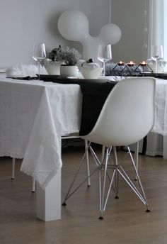 Table setting for Christmas / White/ Monochrome / Scandinavian home
