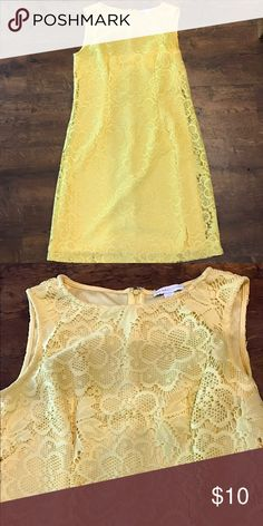 EUC New York and Company Yellow Lace Shift Dress Pretty, sunny yellow Lace dress. Zip up back. Knee length shift dress in excellent used condition New York & Company Dresses Midi