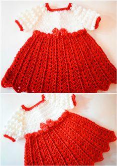 Crochet Baby Dress For Christmas - Knitting Bordado Bag Crochet, Crochet Girls, Love Crochet, Crochet For Kids, Beautiful Crochet, Crochet Baby, Easy Crochet Patterns, Crochet Designs, Baby Patterns