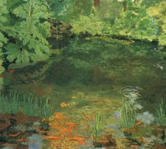 """Sir Winston Churchill's """"Goldfish Pool At Chartwell"""" 1935 - The Prime Minister of the UK discovered the pleasure of painting at age 40, 1874-1965"""