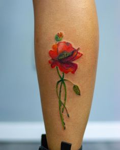 by Madalina Tattoo Artist done at CACTUS INK Bucharest. Poppy Color Watercolor Leg Tattoo Bucharest, Leg Tattoos, Tattoo Artists, Poppy, Watercolor Tattoo, Cactus, Ink, Instagram, India Ink