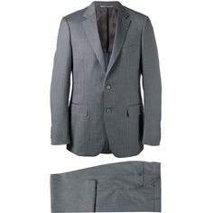 Canali Two Piece Suit ($1,971) ❤ liked on Polyvore featuring men's fashion, men's clothing, men's suits, mens wool suits, mens gray suit, men's 2 piece suits, mens two piece suits and mens grey suits