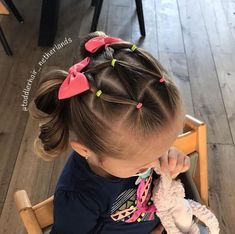 I made this style yesterday A fun elasticstyle with 2 high pigtails 🎀 The elastics match her shirt again Do you also find this style so… Toddler Hair Dos, Easy Toddler Hairstyles, Easy Little Girl Hairstyles, Girls Hairdos, Cute Little Girl Hairstyles, Cute Girls Hairstyles, Princess Hairstyles, Girl Haircuts, Hairstyles For Toddlers