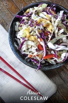 Asian flavored coleslaw is crisp, colorful and tasty. Serve it as a salad or layer it in your pulled pork sandwich.